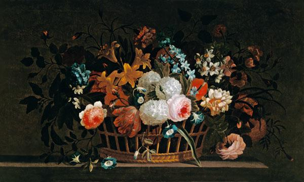 Still Life of Flowers in a Basket on a Stone Ledge