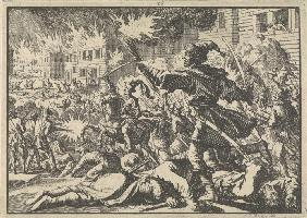 Fighting in the streets of Moscow between Russians and Poles in 1611