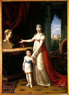 Elisa Bonaparte (1777-1820) Grand Duchess of Tuscany and her Daughter Napoleone-Elisa
