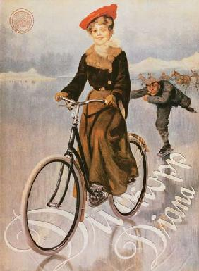 Advertising placard for the ladies' bicycle Diana of the company D�rkopp.