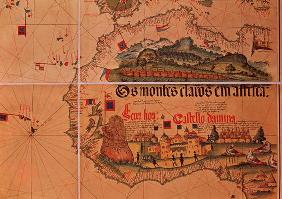 Map of Sao Jorge da Mina, on the Gold Coast of Africa, founded by the Portuguese in 1482 (coloured e