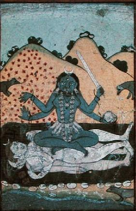 The Goddess Kali seated in intercourse with the double corpse of Shiva, 19th century, Punjab