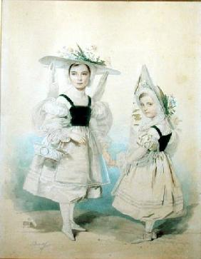 Portrait of the Grand Princesses Olga and Alexandra in Fancy Dress