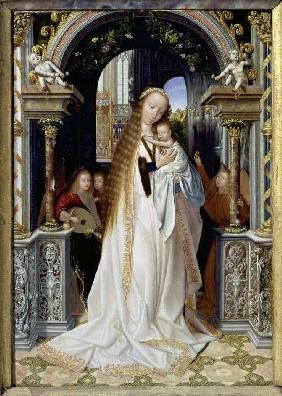 The virgin with the child and three angels