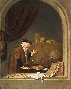 An Old Man Weighing Gold
