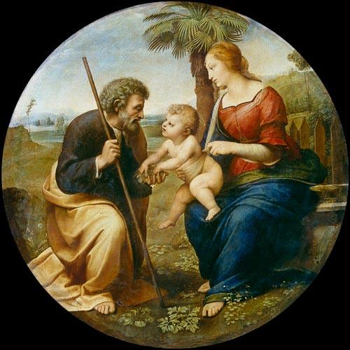 Sacra famiglia con palma quadro di raffaello for Sacra famiglia quadri moderni