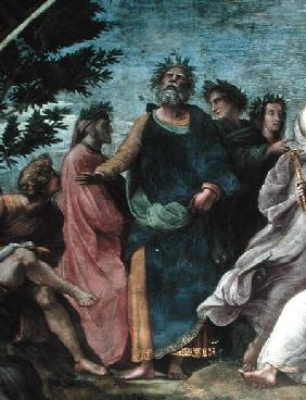 The Parnassus, detail of Homer, Dante and Virgil, in the Stanze della Segnatura