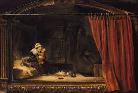 The Holy Family with a curtain (so-called Holzhackerfamilie)