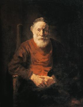 Portrait of an old man in a red gown.