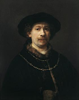 Self Portrait with Beret and Two Gold Chains