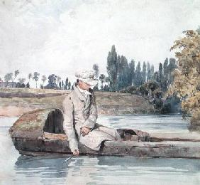A Man Fishing from a Boat on a River