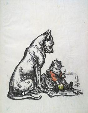 Dog and child