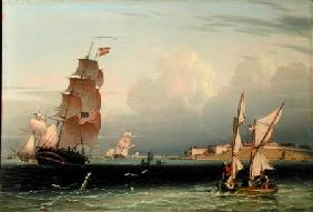 Ship Going Out, Fort Independence, Boston Harbour