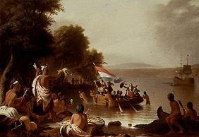 The landing of Henry Hudson 1608 at Verplanck (Peekskill/N.Y.)