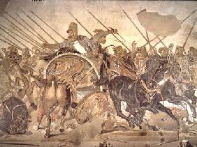 The Alexander Mosaic, detail depicting the Darius III (399-330 BC) at the Battle of Issus against Al