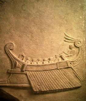 Carved tablet depicting a trireme