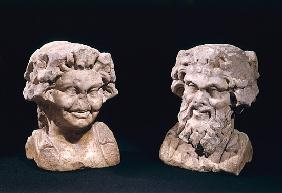 Head of Bacchus and a satyr from a hermatic pillar