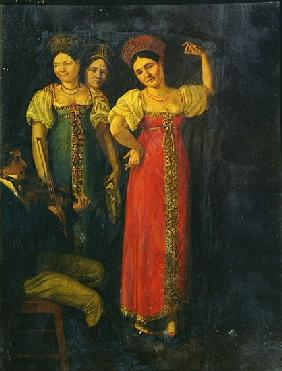 Violinist and three women dancing