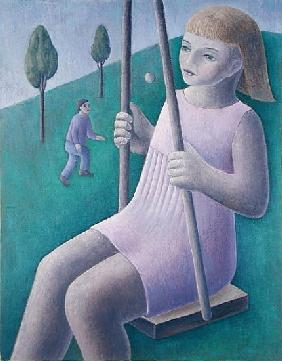 Girl on Swing, 1996 (oil on canvas)