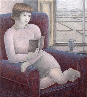 Girl Reading in Armchair, 2009 (oil on canvas)