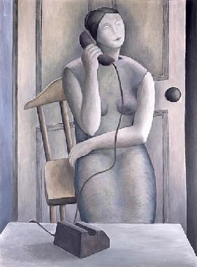 Woman on Phone, 1995 (oil on board)