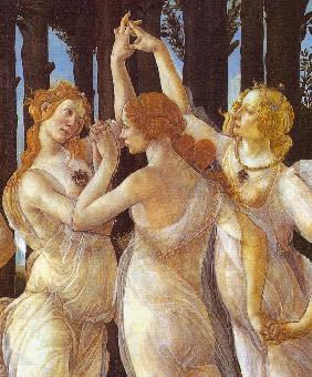 Primavera (Allegory of Spring). Detail: The Three Graces, right - Portrait of Caterina Sforza