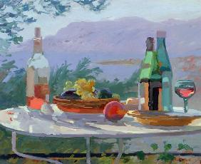 Still Life and Seashore, Bandol (oil on canvas)