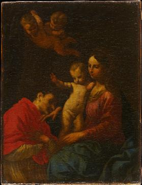 Madonna and Child, worshipped by St Carlo Borromeo