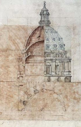 The 'Definitive Design': section, elevation and half plan of St. Paul's Cathedral dome cil on