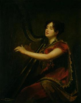 The Marchioness of Northampton, Playing a Harp, c.1820