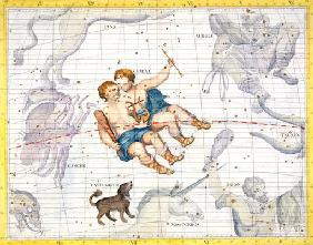 Constellation of Gemini with Canis Minor, plate 13 from 'Atlas Coelestis', by John Flamsteed (1646-1