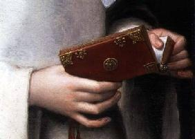 Portrait of the Artist's Sister in the Garb of a Nun, detail of her prayer book