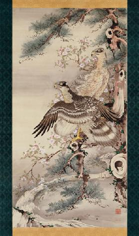Pair of Hawks with Branch and Blossoms