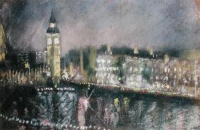 Big Ben, from the South Bank, 1995 (pastel on paper)