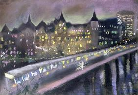 Hungerford Bridge, from the South Bank, 1995 (pastel on paper)