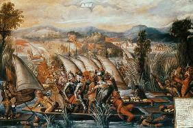 The Capture of Guatemoc (c.1495-1522), the last Aztec Emperor of Mexico