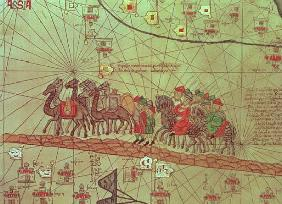 Catalan Atlas, detail showing the family of Marco Polo (1254-1324) travelling camel caravan