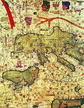 Detail of North Africa and Europe from the Catalan Atlas Abraham Cresques (1325-87) 1375