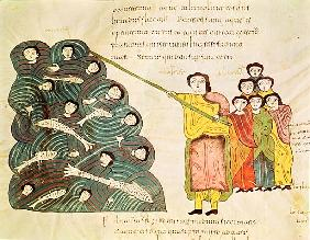 Fol.39v Moses closing the Red Sea on the Egyptians, from the ''Bible Mozarabe''
