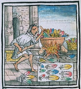 Ms Palat. 218-220 Aztec artisans dyeing feathers, from the ''Florentine Codex'' by Bernardino de Sah