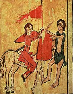 St. Martin and the Beggar, detail from an altar frontal from Sant Marti de Puigbo, Gombren