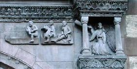 The dead leaving their tombs as an angel blows a trumpet, detail from the St. Gallus Doorway on the