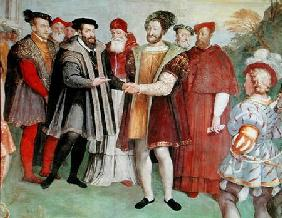 The Truce of Nice between Francis I (1494-1547) and Charles V (1500-58) from the 'Sala del Consiglio