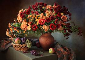 Still life with a bouquet of chrysanthemums and fruit