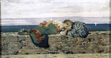 Peasant girl lying on a parapet - Telemaco Signorini riproduzione ...