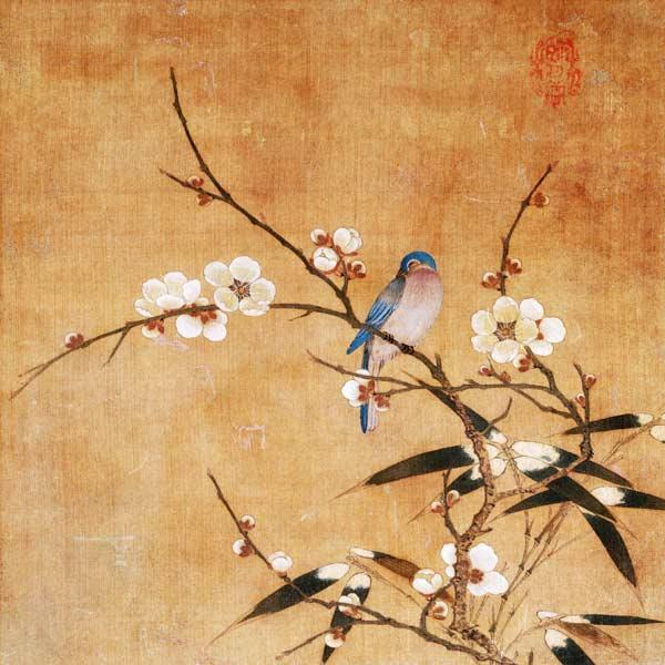 Blue Bird On A Plum Branch With Bamboo