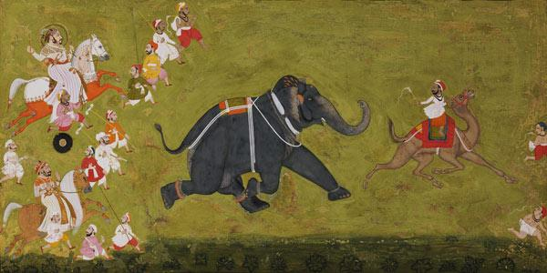 Maharaja Jagat Singh Pursuing An Escaped Elephant