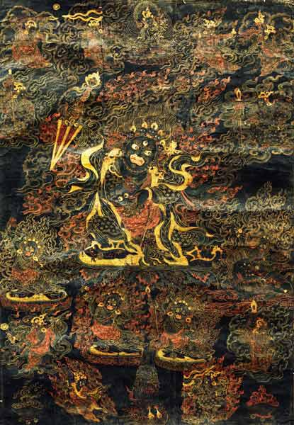 A Black Tibetan Thanka In Gold, Grey And Red Depicting Dharmapala