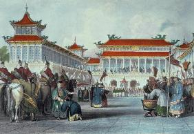 The Emperor Teaon-Kwang Reviewing his Guards, Palace of Peking, from 'China in a Series of Views' by