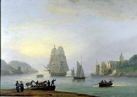 A Brig Entering Dartmouth Harbour, with a Ferry in the Foreground
